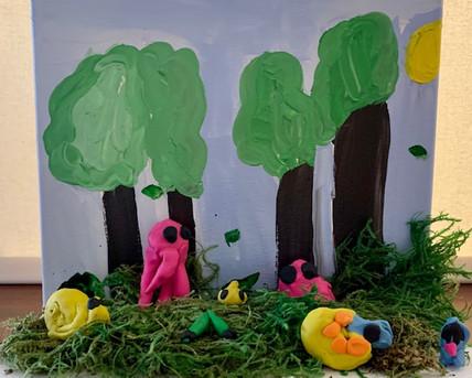 Fynn Holman, Forest Frenzy, Mixed Media Landscape, 2021