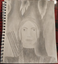 Grace Sellers, The Girl on Fire, Pencil Drawing, 2021