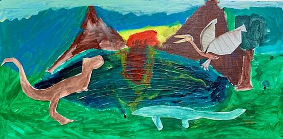 Trevor Linton, Dinosaur's Lair, Painting, 2020
