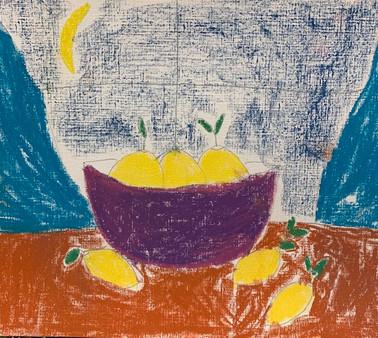Aurora Rhoads, Still Life With Lemons, Pastel Drawing, 2021