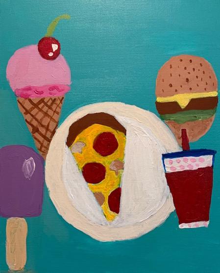 Evie Elliott, Pizza Party, Painting, 2021