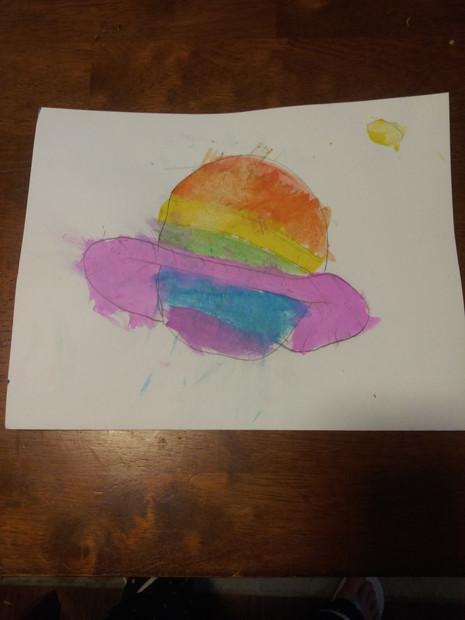 Sophia Baker, Rainbow Planet, Watercolor, 2021