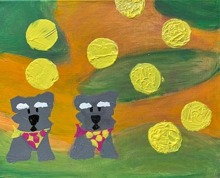 Dani McTague, Double Sadie Polka Dot, Screen Print on Painted Canvas, 2021