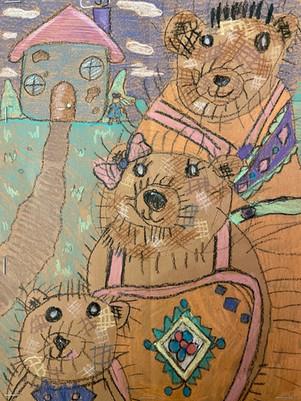 Hailey Hector, Goldilocks & the 3 Bears, Oil Pastels, 2020