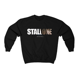 Image of a black crewneck sweather with stallone frank that is written on the front