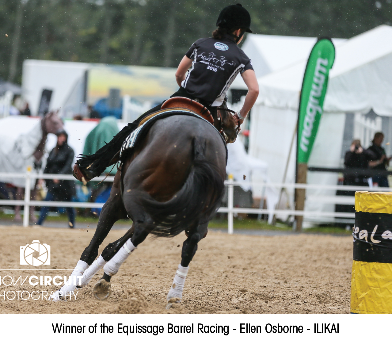Winner of the Equissage Barrel Racing - Ellen Osborne - ILIKAI