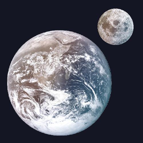 כדור הארץ ולידו הירח