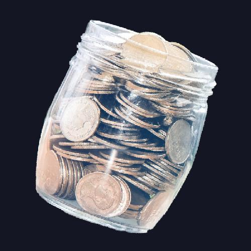 צנצנת עם מטבעות