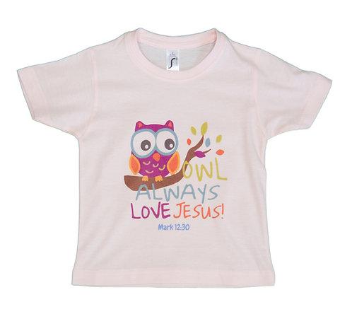 Kid's T Owl Baby Pink