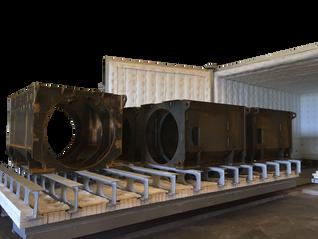 Horno a gas con vagoneta para distensionado de soldaduras de gran volumen
