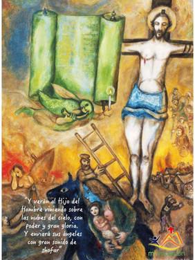 Hoy nos fijamos en el ángel que está delante de la Torah. Está tocando esa especie de cuerno (shofar), que en la tradición hebrea se empleaba para anunciar la presencia de Dios respondiendo al grito de súplica de su pueblo. A la vez, tiene en su mano una pequeña vela, símbolo de cada ser humano, que cuando está encendido con el amor de Dios siempre busca el cielo en su ardor (la llama nunca arde hacia abajo). El ángel es símbolo de cada uno de nosotros. Al contemplar la gloria de Dios manifestarse en la cruz, podemos actuar como él, tocando el shofar para anunciar la presencia de un Dios que está con nosotros, que camina en medio de su pueblo; o bien, como los que contemplaban a Jesús en el evangelio de hoy, que viendo sus obras, no siendo capaces de reconocer la gloria que se manifestaba, querían apedrearlo por blasfemo. El ángel reconoció la gloria en Cristo porque antes la había conocido en la Torah (por eso es del mismo color). Y tú, ¿de qué color tiñes tu vida? #Cuaresma en mivocacion.es