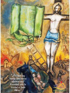 """Donde yo voy no podéis venir vosotros… les decía hoy Jesús a los judíos. Dos veces, en el evangelio de Juan Jesús habla de """"ir"""" hacia un lugar al que los judíos no podían ir. Una pensaron que iría a hablar a los judíos de la diáspora; otra, pensaron que hablaba de suicidarse. En ambos casos hay intuiciones verdaderas, aunque pierden lo esencial: su """"irse"""" es un ir a la muerte (y para llegar a todos, incluso a los más alejados), pero no en el sentido de darse muerte a sí mismo, sino de transformar su muerte violenta en la libre entrega de su propia vida. Hoy contemplamos como el fuego devorador (símbolo de la muerte) que transforma la parte baja de nuestra imagen en cenizas, ilumina al mismo tiempo para hacer resplandecer al """"Hijo del hombre"""" en la cruz. El fuego de nuestro dolor ilumina también nuestra esperanza. Solo así, trazado el camino a través del bosque de la muerte, el hombre, que por sus fuerzas no puede salir de él, podría ser llevado a su destino final. #Cuaresma en mivocación.es"""