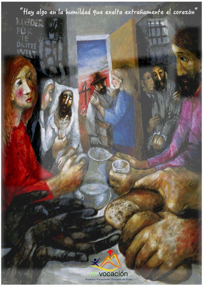 Si llamamos a Dios Padre, entonces, el otro es nuestro hermano. Hoy, una mujer vestida de rojo es mirada por Jesús, vestido de morado. El rojo de la humanidad, y el violeta del azul de la divinidad y del rojo de la humanidad. Dios ha decidido abajarse, hacerse uno de nosotros, hacerse hermano de todos. Él no mira por encima del hombro. ''Cuando recéis no uséis muchas palabras como los gentiles'' sólo dos: Padre y hermano. #Cuaresma