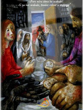 Hoy nos fijamos en la puerta. La puerta de nuestro cuadro no está abierta sólo para que entre el extranjero… está abierta para que seamos conscientes de nuestra pobre realidad: todos vamos a morir… Y por eso lo primero que se ve al atravesar la puerta es un cementerio. Sin embargo, nuestro autor no se queda en el cementerio… sino que la cruz de la tumba, actuando como flecha, nos indica que nuestro destino está arriba, no abajo. Nuestro destino es el cielo, es la gloria, es la casa del Padre… es el lugar donde viviremos el amor perfecto que hemos ido entrenado a duras penas en esta vida. No somos capaces de amar del todo, pero cuando lo hacemos, aunque sea mínimamente, nos damos cuenta de que estamos hechos para eso. Esforcémonos en crecer en el amor… especialmente con los que más nos cuesta. Así podremos vivir el amor tal y como lo hace Dios: que hace salir el sol sobre malos y buenos y manda la lluvia sobre justos e injustos. #Cuaresma en mivocacion.es
