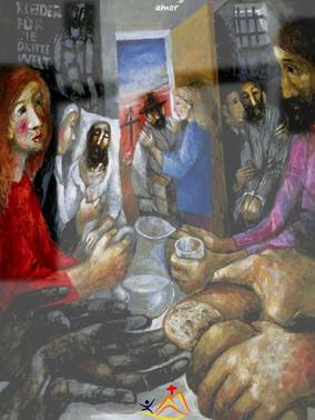 """Los habitantes de Nínive creyeron a Jonás, hicieron penitencia y se convirtieron. Seguramente te has fijado en todas las obras de misericordia del cuadro menos en una: un cartel negro que pone en alemán """"ropa para el tercer mundo"""". Supongo que los habitantes de Nínive se fijaron en Jonás porque descubrieron en el algo que era creíble: un testimonio personal… alguien que les hablaba sin tener ningún interés propio, que no ganaba nada, más bien al contrario, se exponía a la burla. Ninguno de nosotros nos hemos fijado en el cartel porque un cartel no da testimonio… Mientras el cartel """"denuncia"""" la existencia de desnudos, el resto """"anuncian"""" que el Reino de Dios ha llegado y se manifiesta en las obras de amor de los unos por los otros. ¿Cuántas veces nos conformamos con denunciar la injusticia sin anunciar con nuestra vida el amor? Y no hay amor más grande que el que da la vida por los amigos ¿De verdad necesitáis más signos? #Cuaresma en mivocacion.es"""