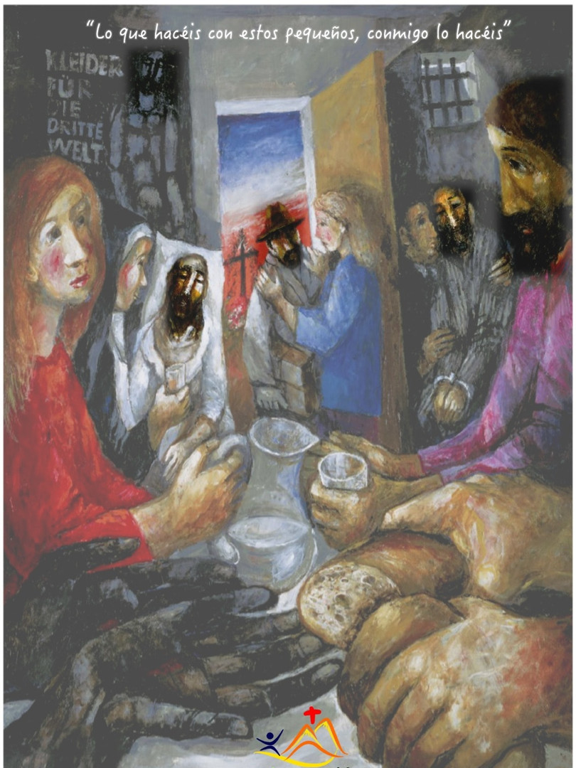 """Porque tuve hambre y me disteis de comer, tuve sed y me disteis de beber, fui forastero y me hospedasteis… ¿te has dado cuenta de que todos los que reciben ayuda tienen en el cuadro el mismo rostro? Todos estamos creados a imagen de Dios, a imagen de un Dios que se ha hecho pobre y pequeño… y de este modo, él se manifiesta en cada una de nuestras pobrezas y debilidades. A veces estamos demasiado ocupados esperando a encontrarnos con nuestro propio """"dios"""" que no tenemos tiempo para atender al rostro ensangrentado que nos espera al margen del camino. Si sólo secásemos su cara, como la Verónica, podríamos descubrir detrás el rostro del Dios vivo y verdadero: sediento, hambriento, prisionero… Descubrir a Dios en el pequeño, eso es lo que te hace grande. #Cuaresma en mivocacion.es"""