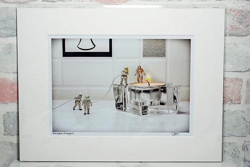 "Tealight firefight - 7"" x 5"" mounted print"