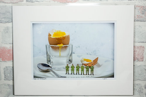 "Egg and Soldiers - 7"" x 5"" mounted print"
