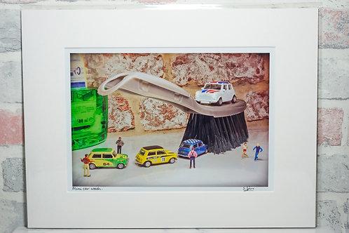 """Mini car wash - 7"""" x 5"""" mounted print"""