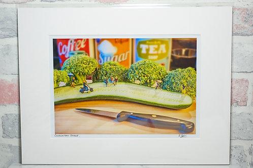 "Cucumber Street - 7"" x 5"" mounted print"