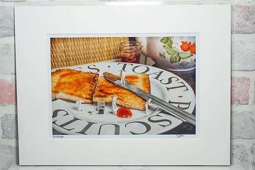 """Spillage - 7"""" x 5"""" mounted print"""