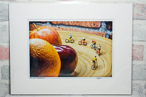 The Fruit Velodrome - A4 mounted print