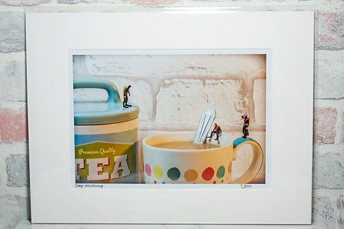 Deep tea diving - A4 mounted print
