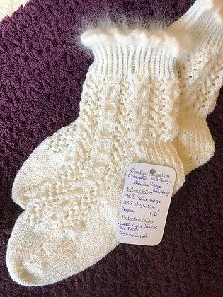 """Bas tricoté """"Blanche neige""""(M/L)"""