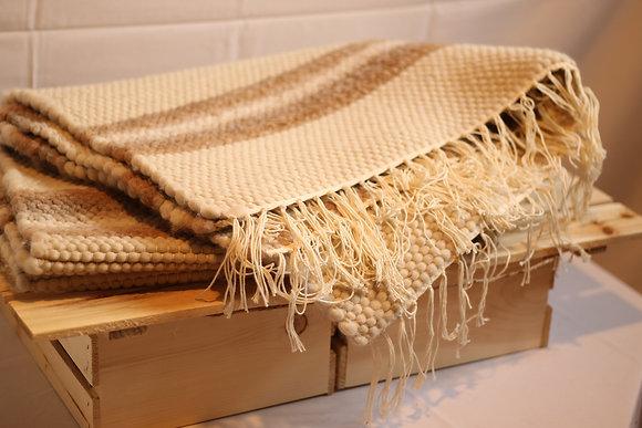 Tapis en fibre d'alpaga, rayé