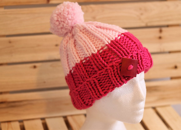 Tuque en tricot, pompon en laine -  La Collection Mellow