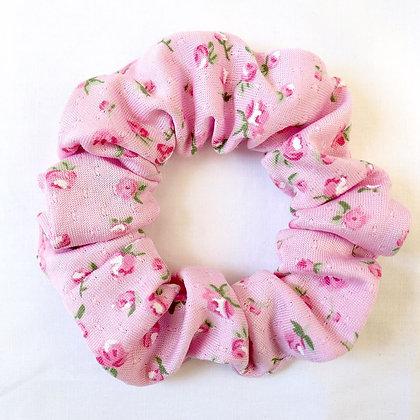Scrunchie rose fleuri