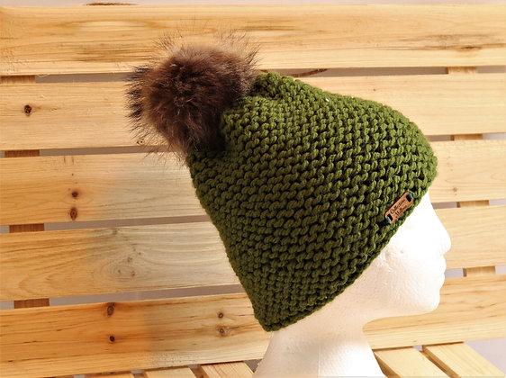 Tuque en tricot, pompon de fourrure -  La Collection Mellow