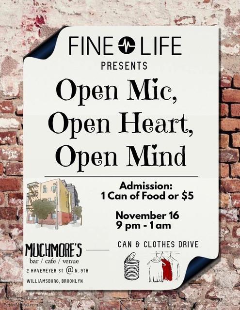 Fine Life Presents Open Mic, Open Heart, Open Mind