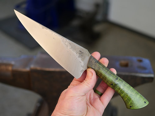 LIMITED EDITION Fighter Titanium Finish Chefs Knife - Curly Maple