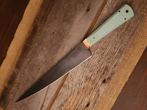 Persian Tuna/Brisket Kitchen Knife - Tiffany Blue G10 w/ Copper