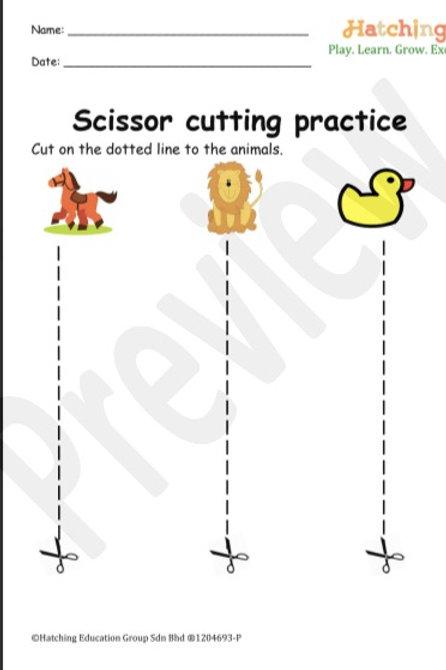 Scissor Cutting Practice (Straight Line)