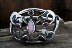 Ruby, sapphire, agate dachshund butterfly bracelet
