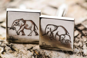 Engraved cufflinks with elephants