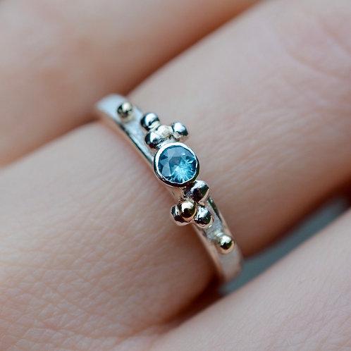 Sky blue Zircon bubble Ring