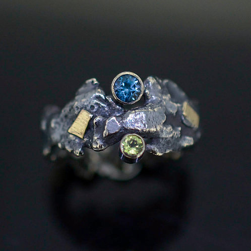 Organic shape Topaz & Peridot Ring