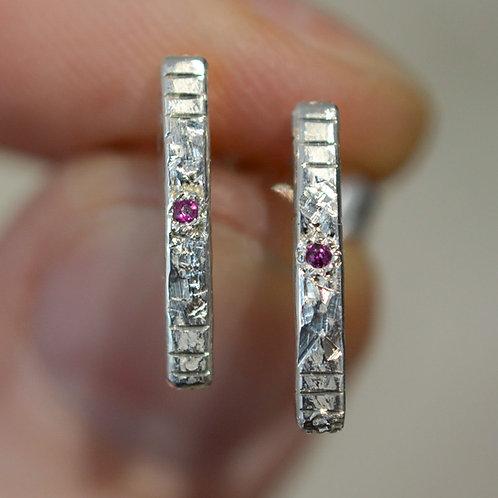 Ruby silver bar earrings