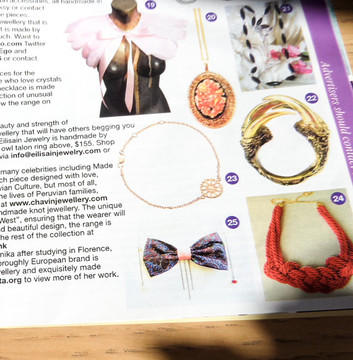 DanaBassotta bow tie necklace in Glamour UK fashion magazine