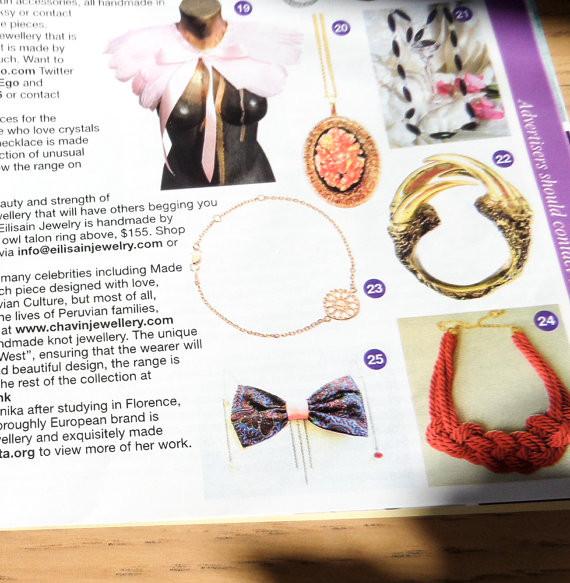 DanaBassotta bow tie necklace in Glamour UK fashion magazine