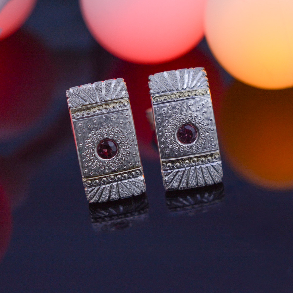 Silver Stud Earrings with Sapphires and Gold