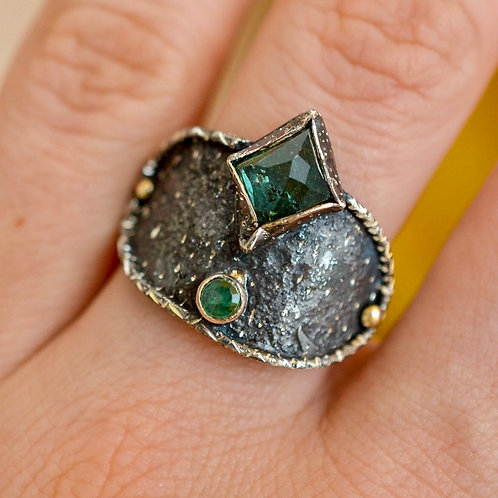 Tourmaline & Emerald ring