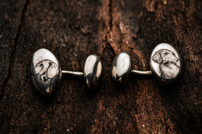 Vintage sterling silver cufflinks with dachshunds