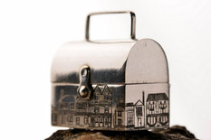 Pill box with houses