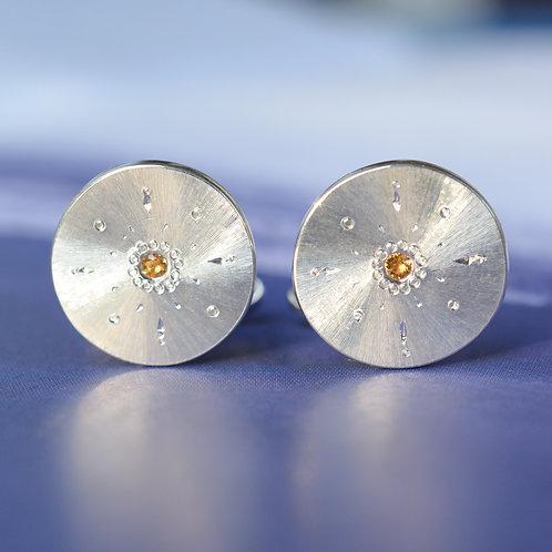 Silver Cufflinks with Citrine Gems
