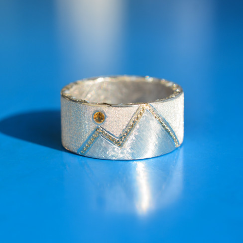 """""""Sunset in the mountains"""" Ring with Sapphire"""