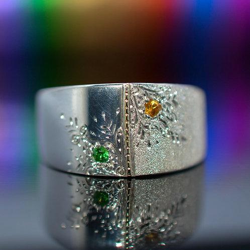 Tsavorite & Sapphire Ring